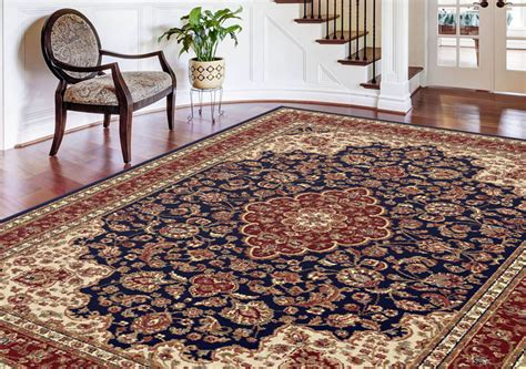 navy traditional floral medallion area rug border