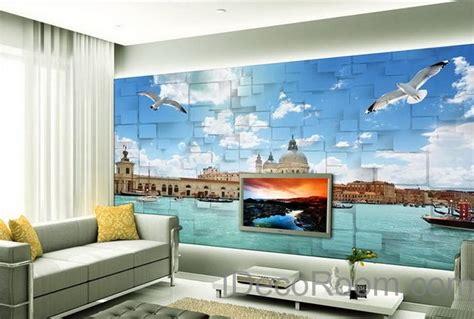 3d Wallpaper Deco by 3d Seagull River Venezsia View Wallpaper Wall Decals Wall