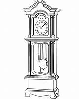 Clock Grandfather Coloring Drawings Clipart Drawing Clocks Sheet Line Face Patterns Pages Tattoo Pendulum Sketch Printable Sheets Father Plans Embroidery sketch template