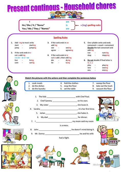 household chores present continuous worksheet  esl
