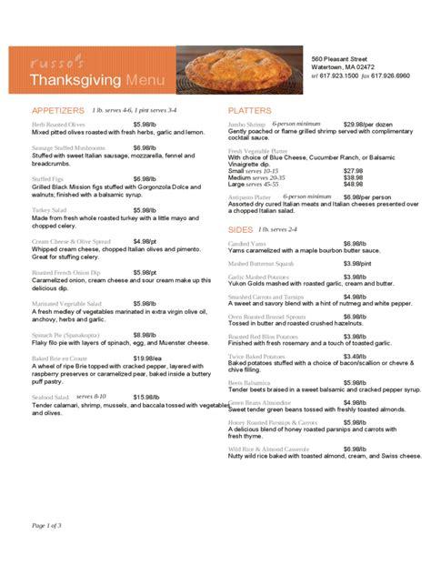 thanksgiving menu template   templates   word