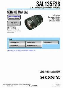 Sony Sal135f28 135mm F2 8 T4 5 Stf Service Manual Repair