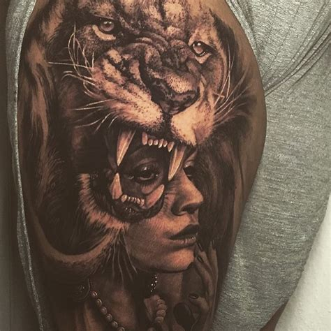 ideas  lion thigh tattoo  pinterest