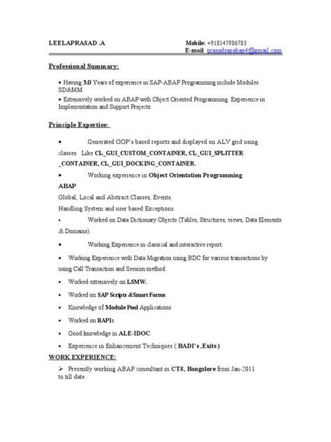 sap abap sle resume 3 years experience prasad sap abap 3 resume object oriented programming