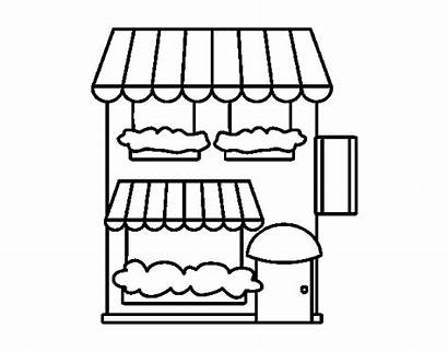 Grocery Coloring Pages Buildings Coloringcrew Colorear Printable