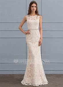 Sheath column scoop neck floor length lace wedding dress for Scoop neck sheath wedding dress