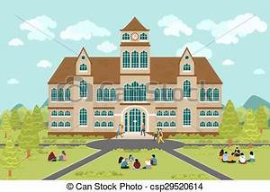 University or college building. education student, flat ...