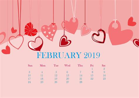 Calendar 2019 February Desktop Wallpaper