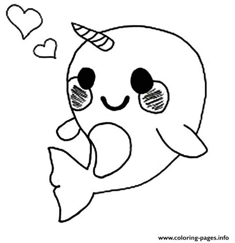 print cute baby narwhal coloring page coloring pages