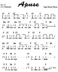 not lagu sirih kuning not angka lagu apuse papua tunas63