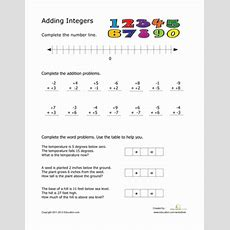 Adding Integers  Worksheet Educationcom