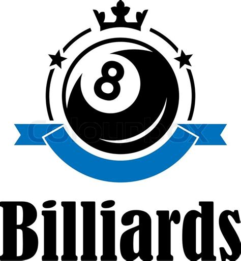 Billiards or pool emblem with ball, crown, banner, stars