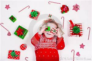Little Girl Opening Christmas Presents Stock Image