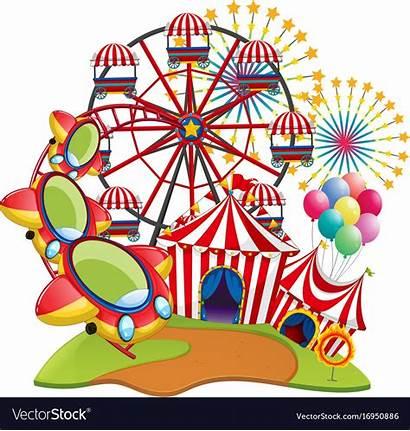 Park Amusement Rides Vector Many Royalty Illustration