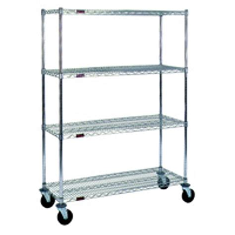 Wire Rolling Shelf Cart With 4 Shelves 60 Quot X 18 Quot Sms 69