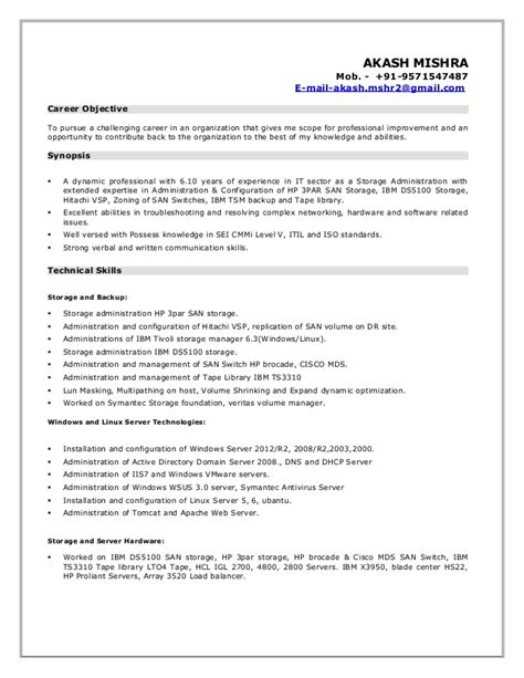 Storage Engineer Resume by Resume Akash Storage Admin