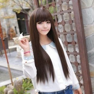 wig long straight hair korean girls wig star wig sweet