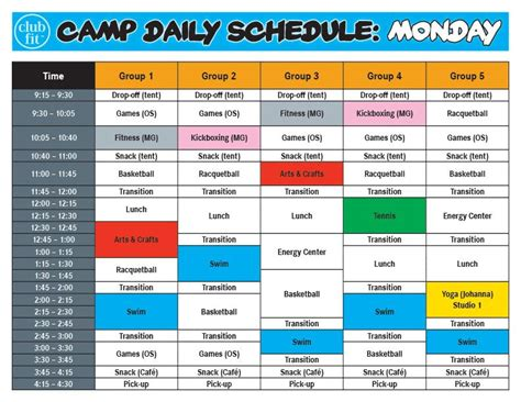 monday daily activity schedule summer camp club fit 197 | b6ad248010b21f0a74e7200555d369d5