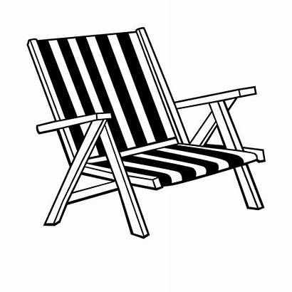 Chair Beach Coloring Drawing Clipart Chairs Pages