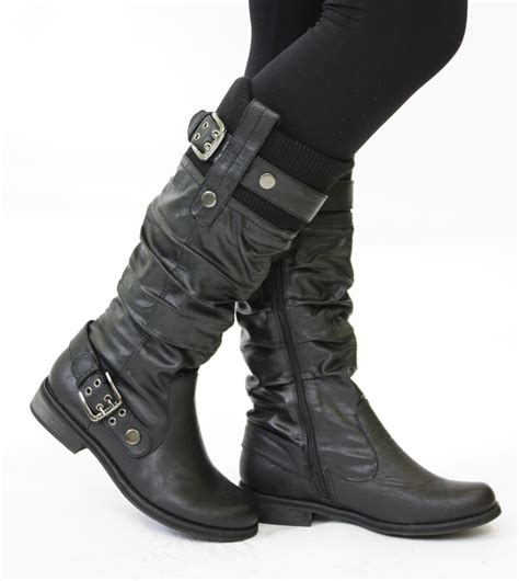 ladies biker boots womens flat biker boots ladies wide calf boots size 7 for