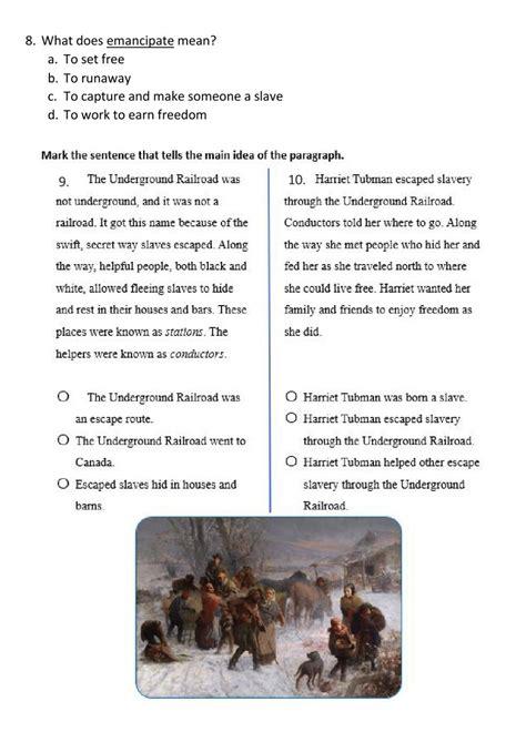 harriet tubman comprehension worksheet worksheet