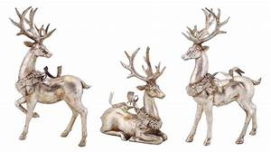 Set, Of, 3, Distressed, Silver, Reindeer, With, Wreath, Table, Top, Christmas, Decorations, 9, U0026quot, -13, U0026quot