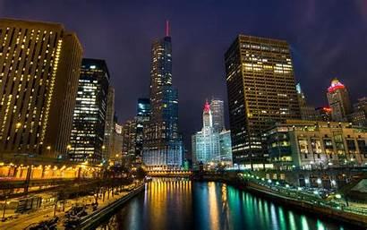 Night Winter River Chicago Street Cities Nature