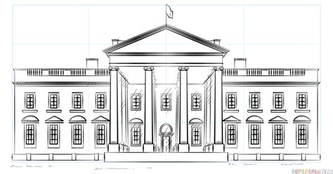 draw  white house step  step drawing tutorials