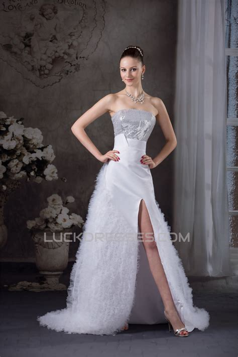strapless satin lace organza fine netting sequins