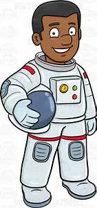 A Black Male Astronaut Smiles Before A Mission Cartoon ...