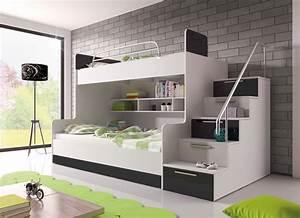 Lit Superposé Escalier : poschodov poste ruby ii biela ierna nov n ~ Premium-room.com Idées de Décoration