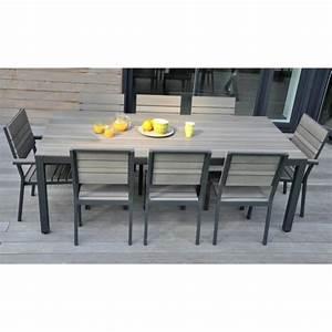 Table De Jardin Aluminium 12 Personnes : salon de jardin 8 places alu bois composite brooklyn ~ Edinachiropracticcenter.com Idées de Décoration