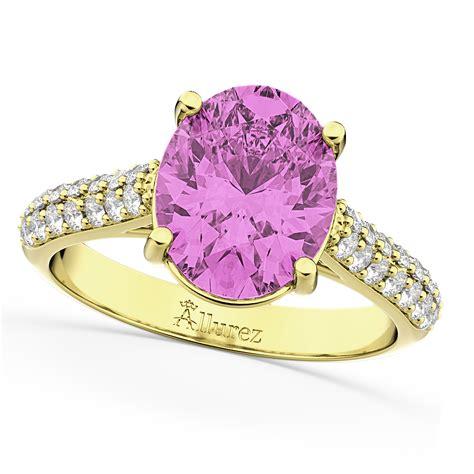 Oval Pink Sapphire & Diamond Engagement Ring 14k Yellow. Weddimg Wedding Rings. Logo Rings. Fantastic Wedding Rings. Inverted Engagement Rings. Willow Wedding Rings. Classic Diamond Rings. Jathakam Rings. Seaweed Engagement Rings