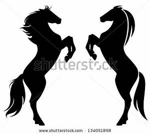 rearing up horse fine vector silhouette and outline ...