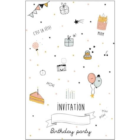 Carte Invitation Anniversaire Fille Carte D Invitation Anniversaire Fille Emile Ida Perlin Paon Paon