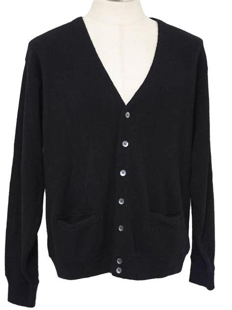 mens black sweater 70s vintage caridgan sweater 60s no label mens black