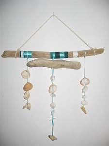 Mobile Bois Flotté : mobile en bois flott et coquillages et perles plates en ~ Farleysfitness.com Idées de Décoration