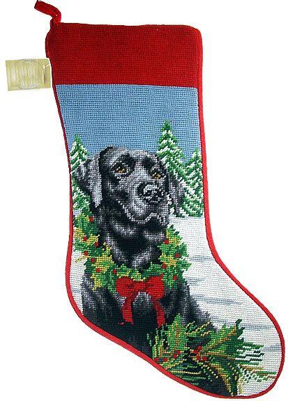 black labrador wreath dog needlepoint christmas stocking