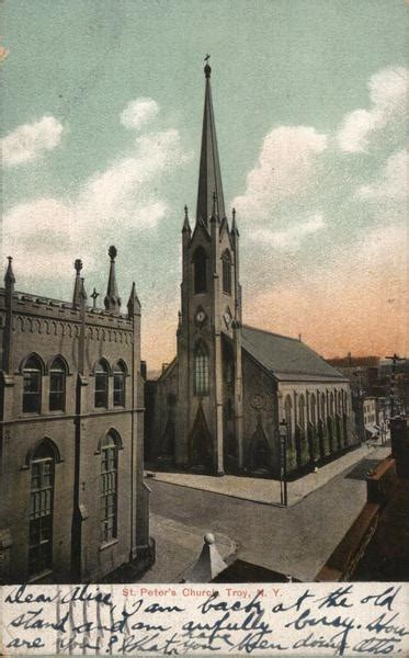 st peters church troy ny postcard