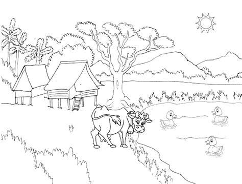 gambar mewarnai pemandangan desa berlatar pohon gunung