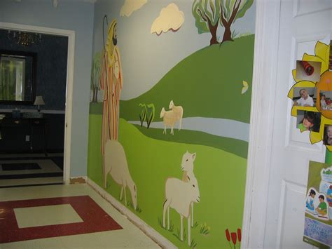 church preschool hallway mural  finished church
