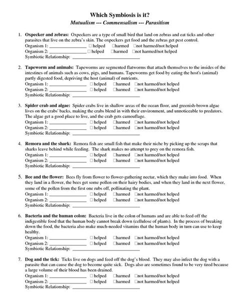 page 1 types of symbiosis worksheet doc science