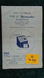 Lionel Type Q Transformer 75 Watts Instructions Original