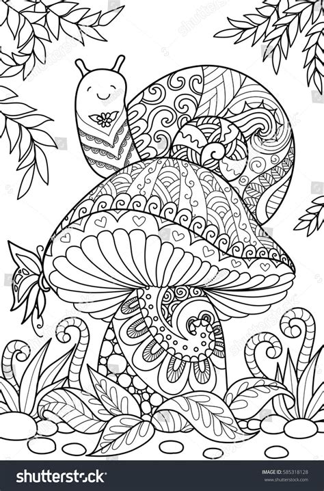 Coloring Books For Adults by Snail Sitting On Beautiful For T Shirt Design