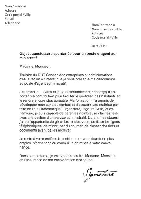 lettre de motivation mairie administratif mod 232 le de lettre