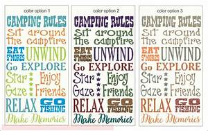 Camping Rules Subway Art Printed Vinyl Decal