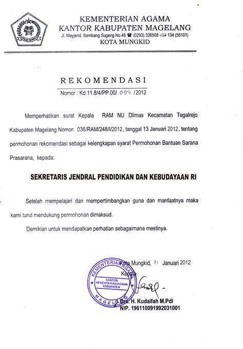 contoh surat rekomendasi  sekjen pendidikan uchavision
