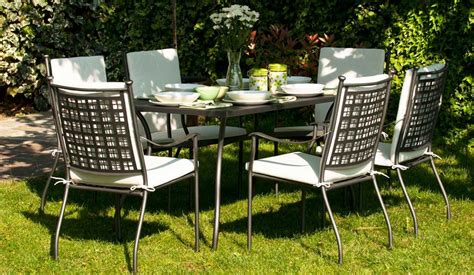 oliver six seater set with rectangular table garden