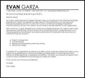 mechanical engineer resume cover letter exles mechanical design engineer cover letter sle livecareer