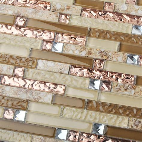 tst glass tile gold conch style interlocking kitchen backsplash tiles